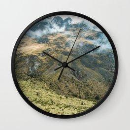 Mountain Scene   Cloudy Green Mountain Nature Landscape Photography in Peru Wall Clock