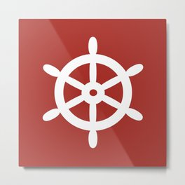 Ship Wheel (White & Maroon) Metal Print