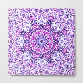 Purple Pink and White Mandala Metal Print