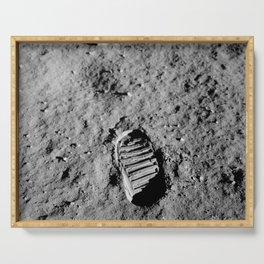 Nasa Picture 1: footprint on the moon Serving Tray