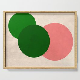 Living Coral Green Vintage Mod Circles Serving Tray