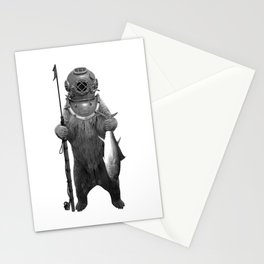 Harpoon Fishing Bear Stationery Cards