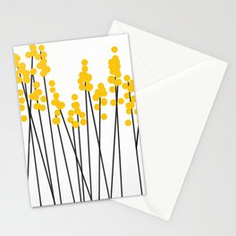 Hello Spring! Yellow/Black Retro Plants on White #decor #society6 #buyart Stationery Cards