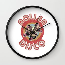 Roller Disco Derby 1970s 1980s Vintage & Distressed Wall Clock