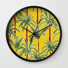Painterly Palms on Mustard Wall Clock