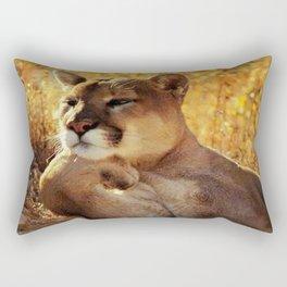The Golden Thinker 🐾 Cougar 🐾 Rectangular Pillow