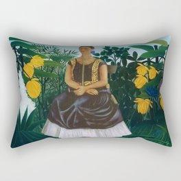 Frida's Garden, Frida Kahlo's Casa Azul, Coyoacán, Mexico rainforest floral landscape painting Rectangular Pillow