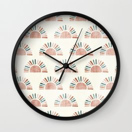 block print suns - jade and dusty rose Wall Clock