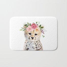 Baby Cheetah with Flower Crown Bath Mat