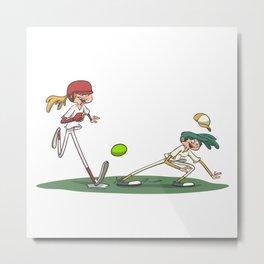 Softball girl running to the base Metal Print