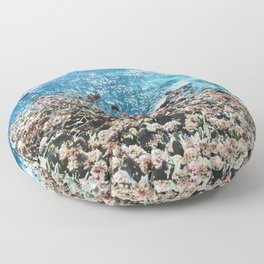 Flowers on a Cliff Floor Pillow