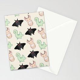 Cryptid Mothman Jackalope Nessie Lochness Pattern Stationery Cards