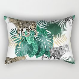 Modern leopard and tropical leaves design Rectangular Pillow