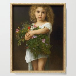 "Gustave Doyen and William Adolphe Bouguereau ""Enfant tenant des fleurs (Child with flowers)"" Serving Tray"