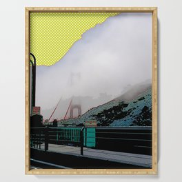 Iconic Golden Gate bridge in the mist art print - San Francisco, California - Cali photography Serving Tray