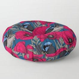 Fairy wren and poppies Floor Pillow
