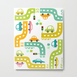 Cars, cars, cars! Watch out! Busy life in the city. Wall decor. Nursery abstract art.  Metal Print