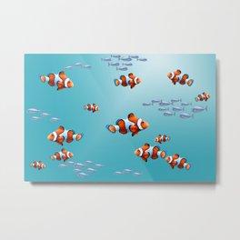 Clownfishes Aquarium ocean #clownfish #society6 Metal Print