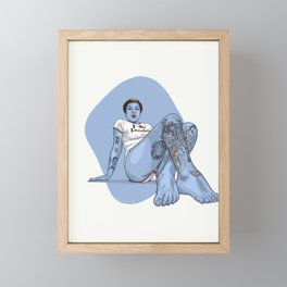 Ollie Blue Framed Mini Art Print