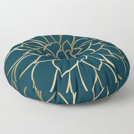 Festive, Floral Prints, Line Art, Dark Teal and Gold Floor Pillow