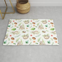Tropical Sloths Pattern Rug