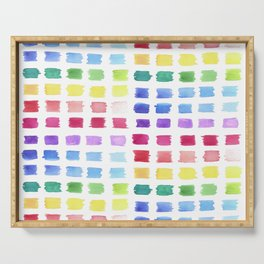 Watercolor paint palette swatches sample or color chart in rainbow hues Serving Tray