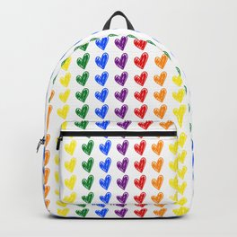 Hand Drawn Heart Seamless Pattern in Rainbow Color Backpack