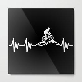 Mountain Bike MTB Heartbeat Metal Print