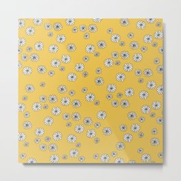 Romantic daisy garden sweet girls baby nursery pattern ochre yellow Metal Print