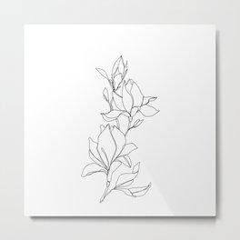 Botanical illustration line drawing - Magnolia Metal Print