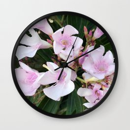 Pink Pastel Tropical Island Flowers Wall Clock