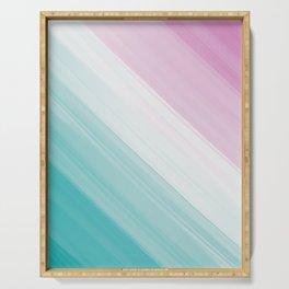 Pastel Pink, White & Cyan Brush Stroke Stripes Pattern Serving Tray