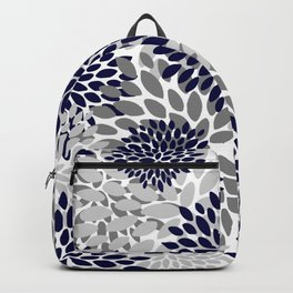 Abstract, Floral Prints, Navy Blue and Grey Backpack