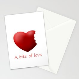 A bite of love (nibbled heart 2) with words Stationery Cards