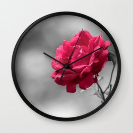 Red rose on monochromatic background Wall Clock