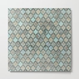Old Moroccan Tiles Pattern Teal Beige Distressed Style Metal Print