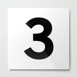 Number 3 (Black & White) Metal Print
