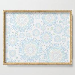 light blue mandalas pattern Serving Tray