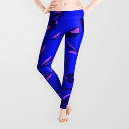 Cloudy flowers and purple tulips on a blue background. Leggings