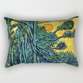 Pine Trees against a Red Sky with Setting Sun by Vincent van Gogh Rectangular Pillow