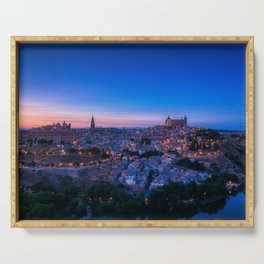 Panoramic view of the medieval center of the city of Toledo, Spain. Serving Tray