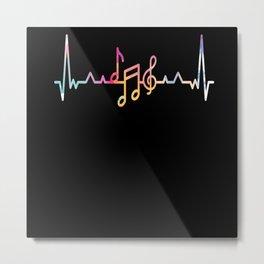 I Love Music Heartbeat Metal Print