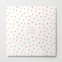 Sweet Peach Polka Dot, White Metal Print