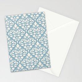 Scroll Damask Big Pattern Cream on Blue Stationery Cards