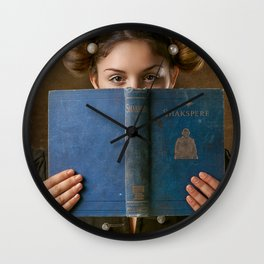 Girl Smiling Behind a Book Wall Clock