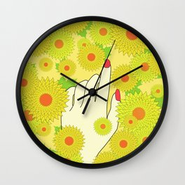 Hand and Flowers Wall Clock