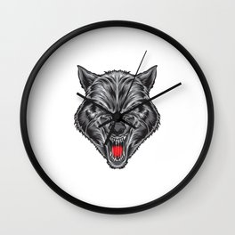 Ruthless Wolf Vector Wall Clock