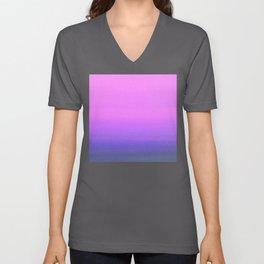 Cyrstallize Deep Purple and Blue Abstract Ocean Horizon Unisex V-Neck