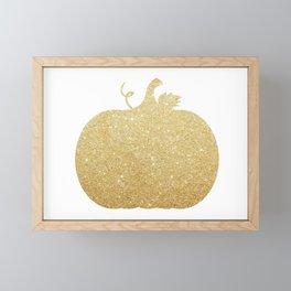 Gold Glitter Pumpkin Framed Mini Art Print