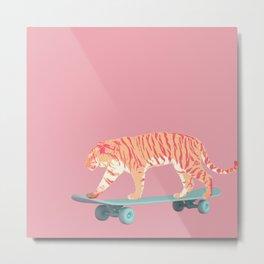 Skateboarding Pink Tiger Metal Print